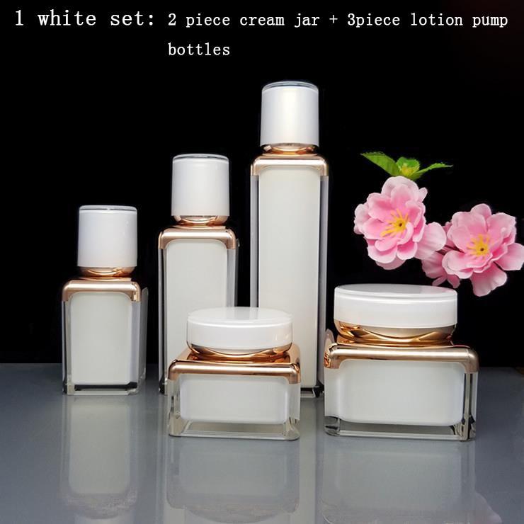 1Set Elegant Square Shape Acrylic Bottle Jar Lotion Pump Bottle Pearl White Rose Gold Color Acrylic Cream Jar 30/50g,15/30/50ml