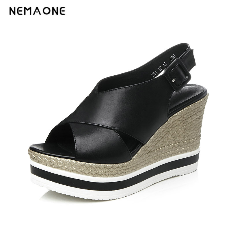 NEMAONE Women wedges sandals Rivets high heels sandals Straw shoes Casual leather platform shoes тонус эласт пояс послеоперационный 9901 р 5