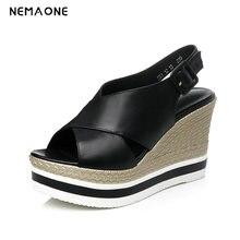 NEMAONE Women wedges sandals Rivets high heels sandals Straw shoes Casual leather platform shoes