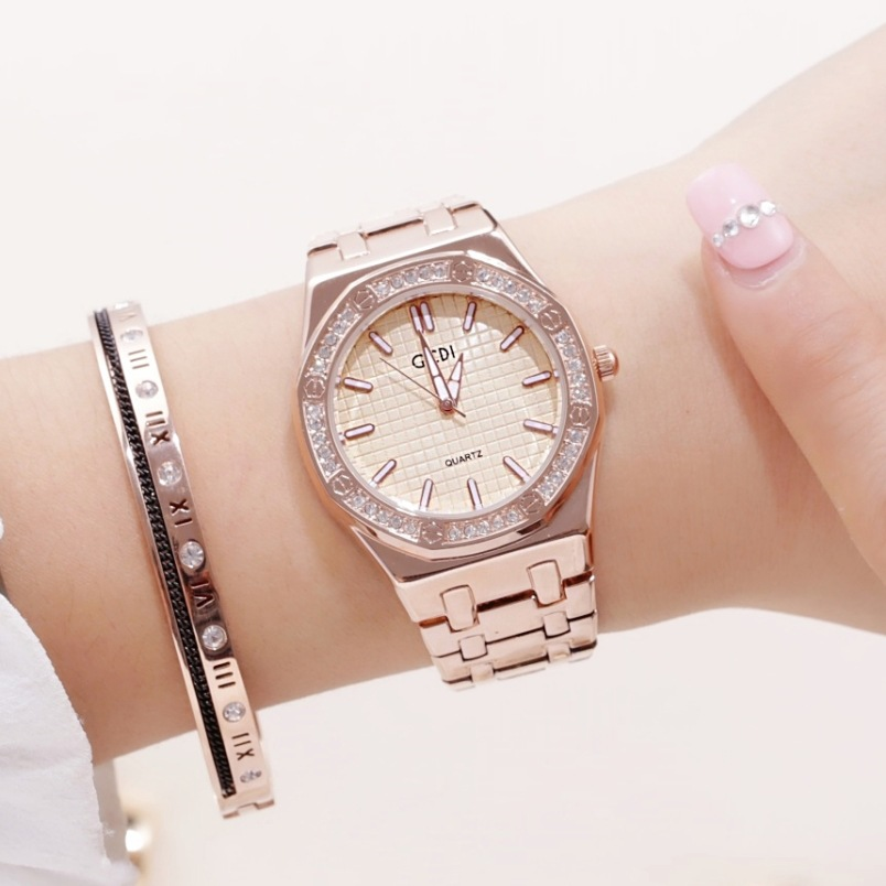 GEDI Brand New WomensLuxury Rose Gold Watch Fashion Diamonds Stainless Steel Strap Waterproof Quartz Watch Gift WatchGEDI Brand New WomensLuxury Rose Gold Watch Fashion Diamonds Stainless Steel Strap Waterproof Quartz Watch Gift Watch
