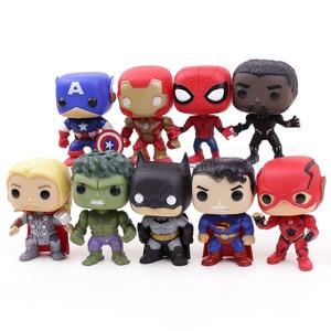 Image 3 - Экшн фигурки супергероев DC, Мстители, Капитан Америка, Железный человек, Человек паук, Черная пантера, Тор, ПВХ, 9 шт./компл.