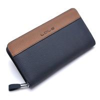 Zipper Patchwork PU Leather Men Wallets Fashion Scrubs Wristlet Male Wallet Handy Phone Wallet Leisure Men