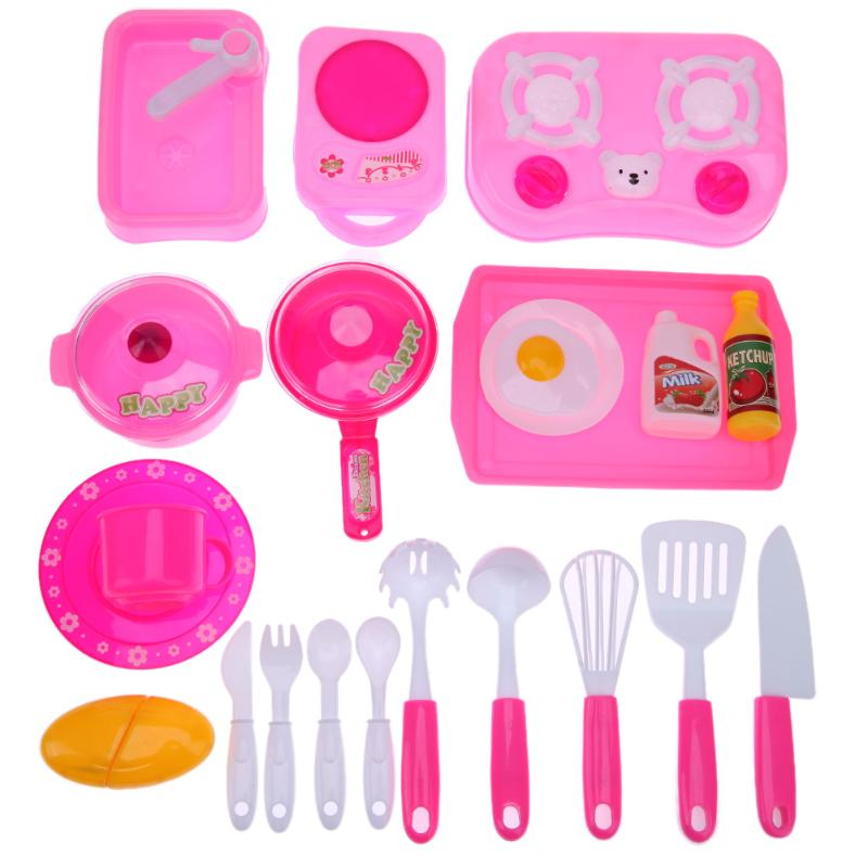 24pcs/Set Role Play Pretend Kitchen Cooking Toy Mini Pink Kitchen Tool Intelligence Toy Role Play Cup Fruit Tool Play Toy Gift