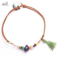 Badu Handmade Elastic Rope Bracelet Adjustable Female Girls Amethyst Tassel Pendant Small Tiny Spring New Fashion