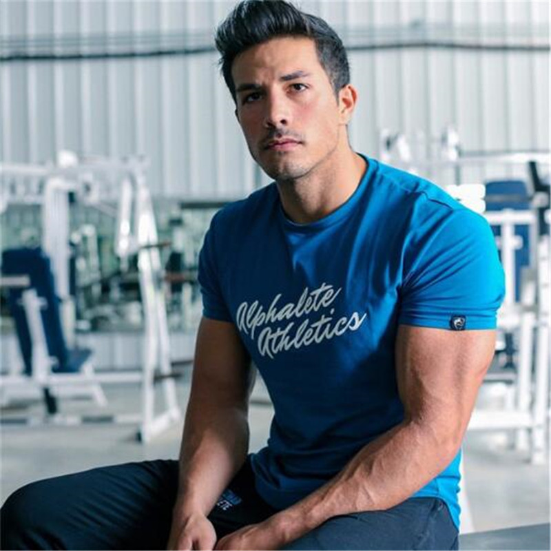 ALPHALETE Summer Fashion T-Shirt Mens Gyms Clothing COTTON Short Sleeve Slim Fit T Shirt Ftiness Men Compression Tshirt Homme