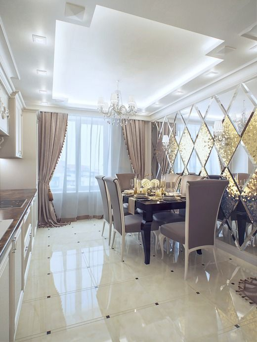 Customized Luxury Beveled Glass Mirror For Dinning Room Wall