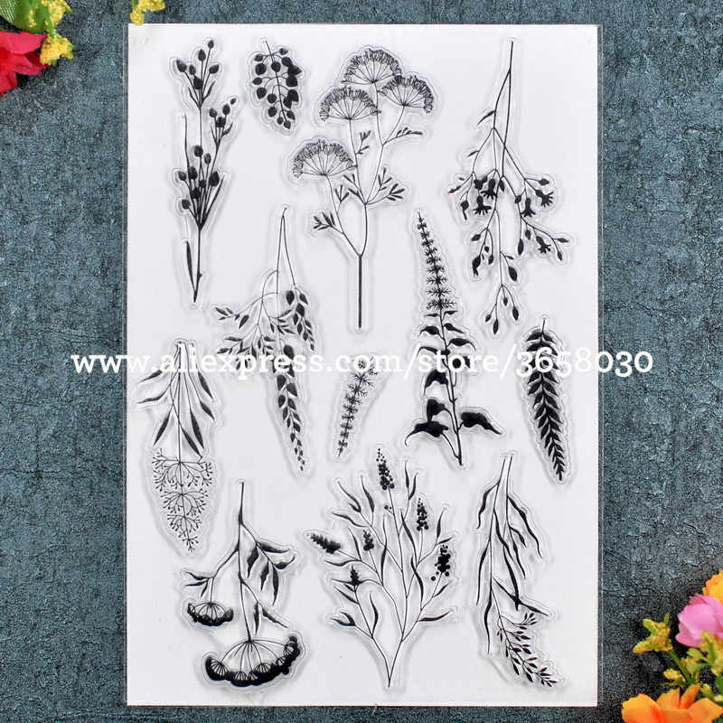 Leaves Flowers Scrapbook DIY photo cards rubber stamp clear stamp transparent stamp 11x16cm 8072385