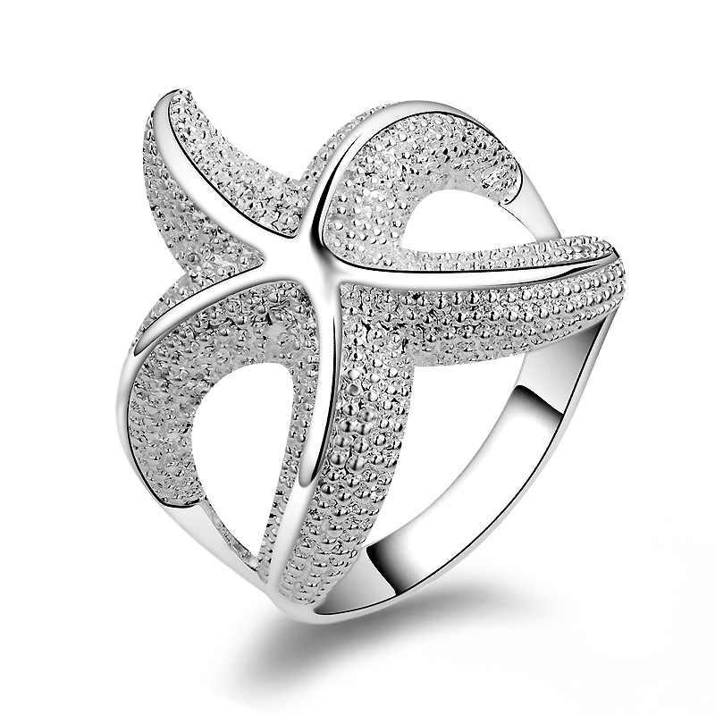 Кольцо в форме морской звезды кольца для мужчин и женщин 925 пробы Серебряные ювелирные изделия жеские кольца Femme Mujer Aneis Ювелирные Изделия Bague Anelli