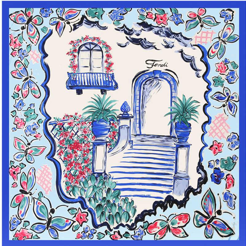 New 100% Twill Silk Square Scarf Stripe Butterfly Print Women Scarves Wrap Neckerchief Spanish Foulard Luxury Brand Cachecol