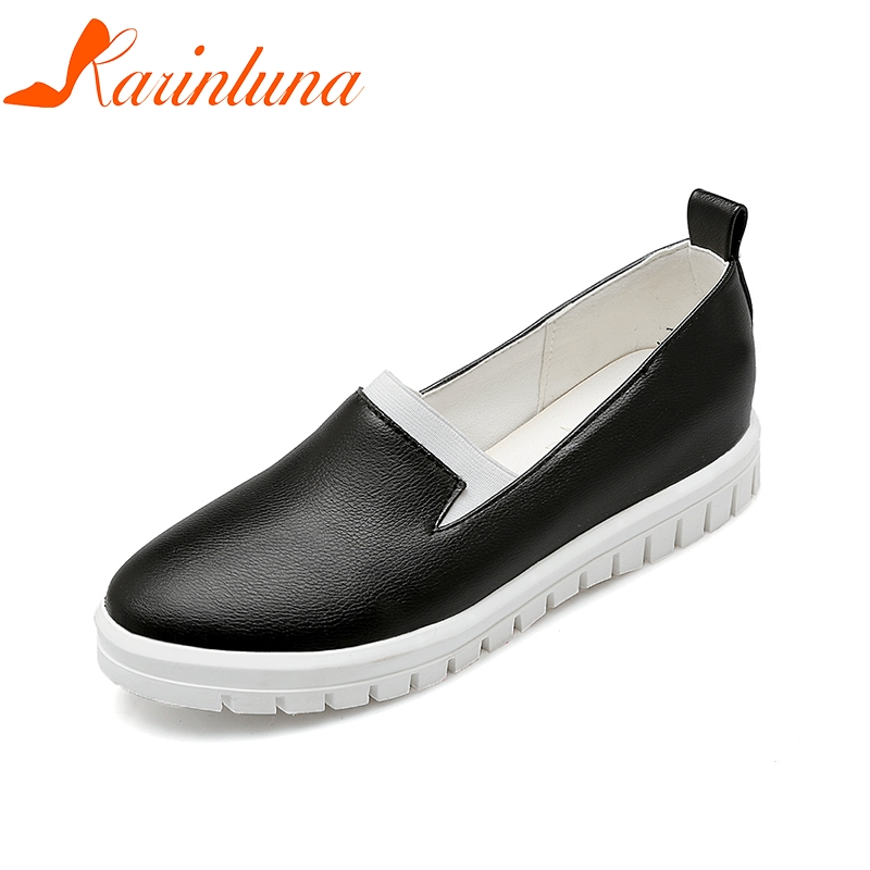 KARINLUNA 2018 Fashion New Big Size 34-43 Women Shoes Flats Black White Leisure Loafers Comfortable Woman Shoes Sneakers
