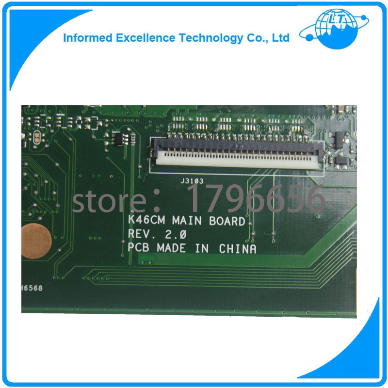 For Asus K46CA K46CM Laptop Motherboard With I5 CPU non-integrated REV.2.0 Mainboard 100% Fully Tested Free Shipping g41 motherboard fully integrated core 775 cpu ddr3 ram belt 4 vxd ide usb 100% tested perfect quality