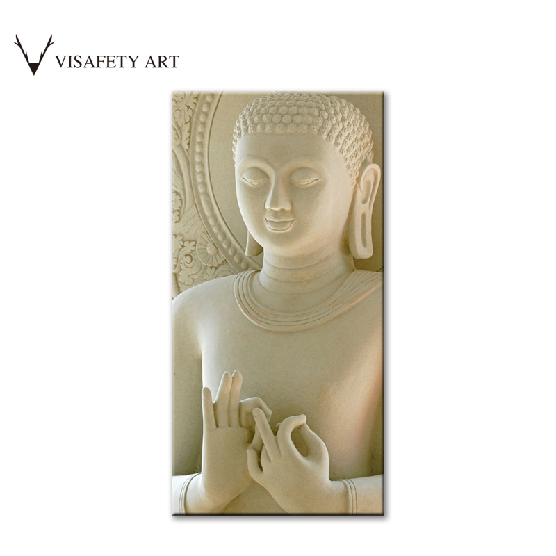 1 Pcs Buddha Painting Wall Art Printed On Canvas Vertical Forms White Marble Buddha Canvas
