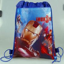 12pcs/lot Boy's Favor Superhero Iron Man String Hand School Bag Storage Case For