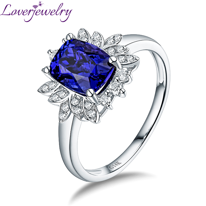 Luxury Natural Diamond Tanzanite Ring Real 14kt White Gold Fine Jewelry for Wife Anniversary Gift lovely yellow sapphire earring charming diamond engagement fine jewelry for wife birthday anniversary gift