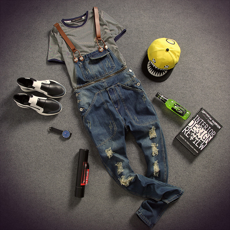 New Fashion Mens Ripped Hole Bib Overalls Jeans 2015 Top Brand Designer Skinny Slim Man Denim Jumpsuits Pants Rompers MB393 male suspenders 2016 new casual denim overalls blue ripped jeans pockets men s bib jeans boyfriend jeans jumpsuits