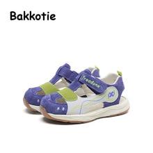 Bakkotie 2017 New Fashion Summer Genuine Leather Baby Boy Leisure Shoe Blue Kid Brand Anti kick