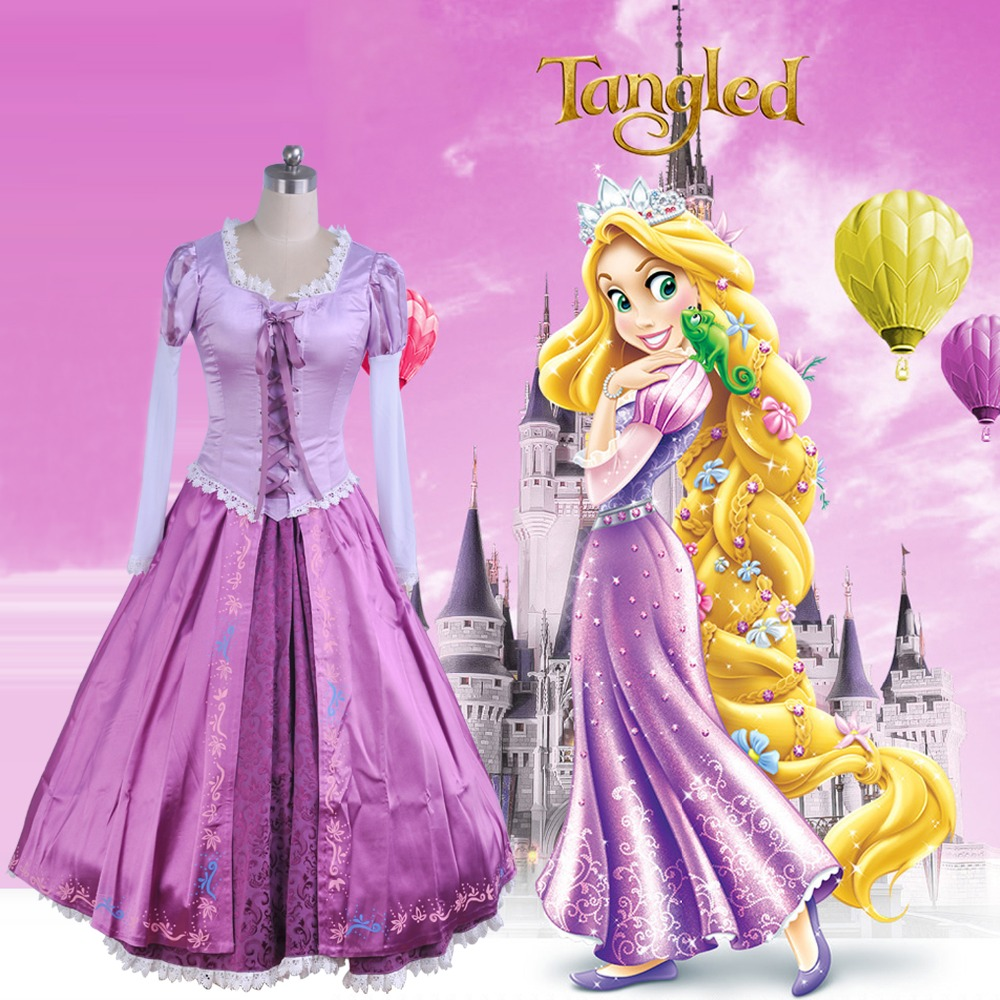 Adult Rapunzel cosplay costume princess Tangled Sofia dress Halloween Costume for women long Carnival Evening party