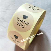 500pcs Kraft Paper Black Heart Thank you Stickers Seals Scrapbook DIY Craft 1 Lables Christmas Party favors gift
