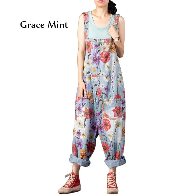 Printed Jumpsuits Female Vintage Floral Overalls Drop Crotch Pants Loose Denim Jumpsuits