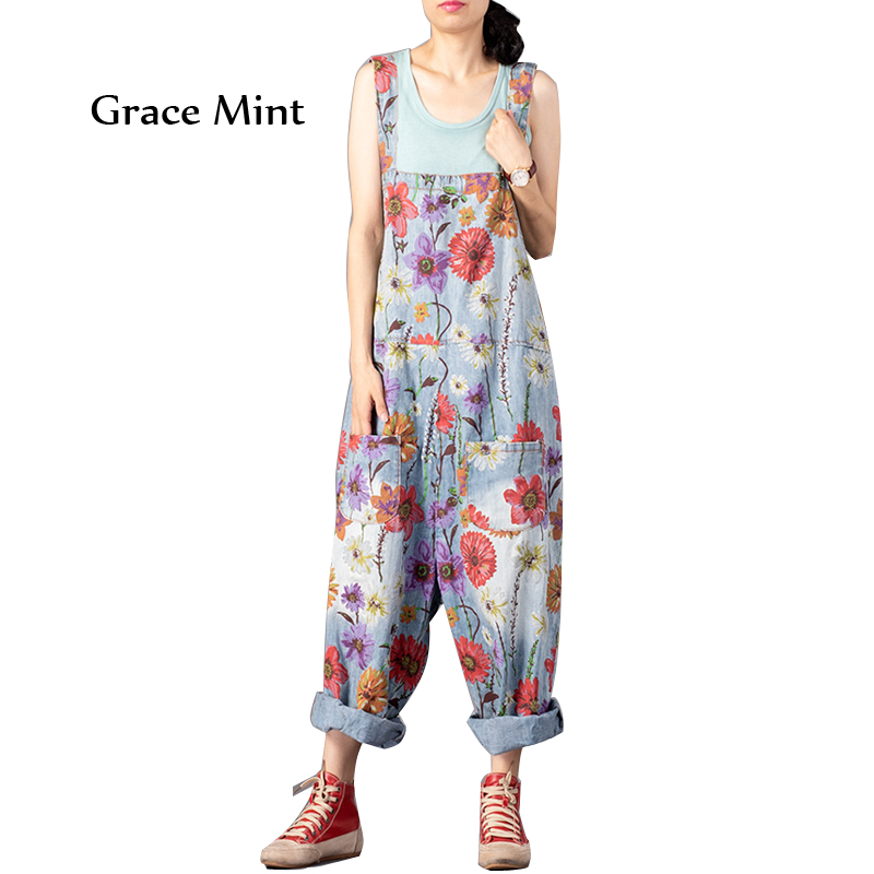 Printed Jumpsuits Female Vintage Floral Overalls Drop Crotch Pants Loose Denim Jumpsuits-in Jumpsuits from Women's Clothing    1