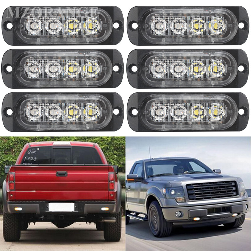 Super Bright White Yellow Red Blue Amber 4 LED Car Truck Van Side Strobe Light Warning Flasher Emergency Police Light wdm 300mm traffic light one aspect red led flasher