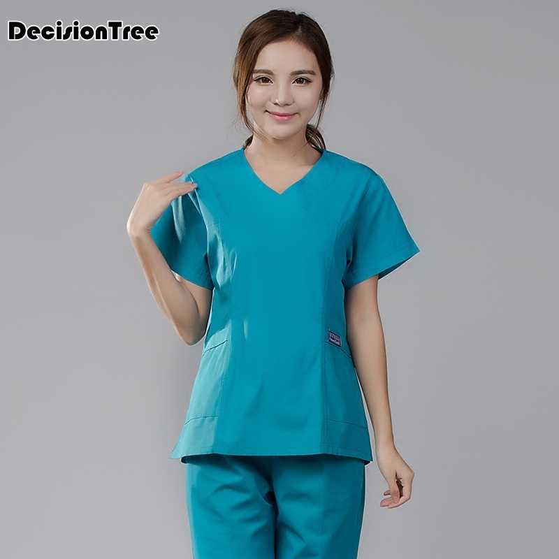 d12812624d9 ... 2019 new women hospital medical scrub clothes set fashionable design  slim fit dental scrubs beauty salon ...