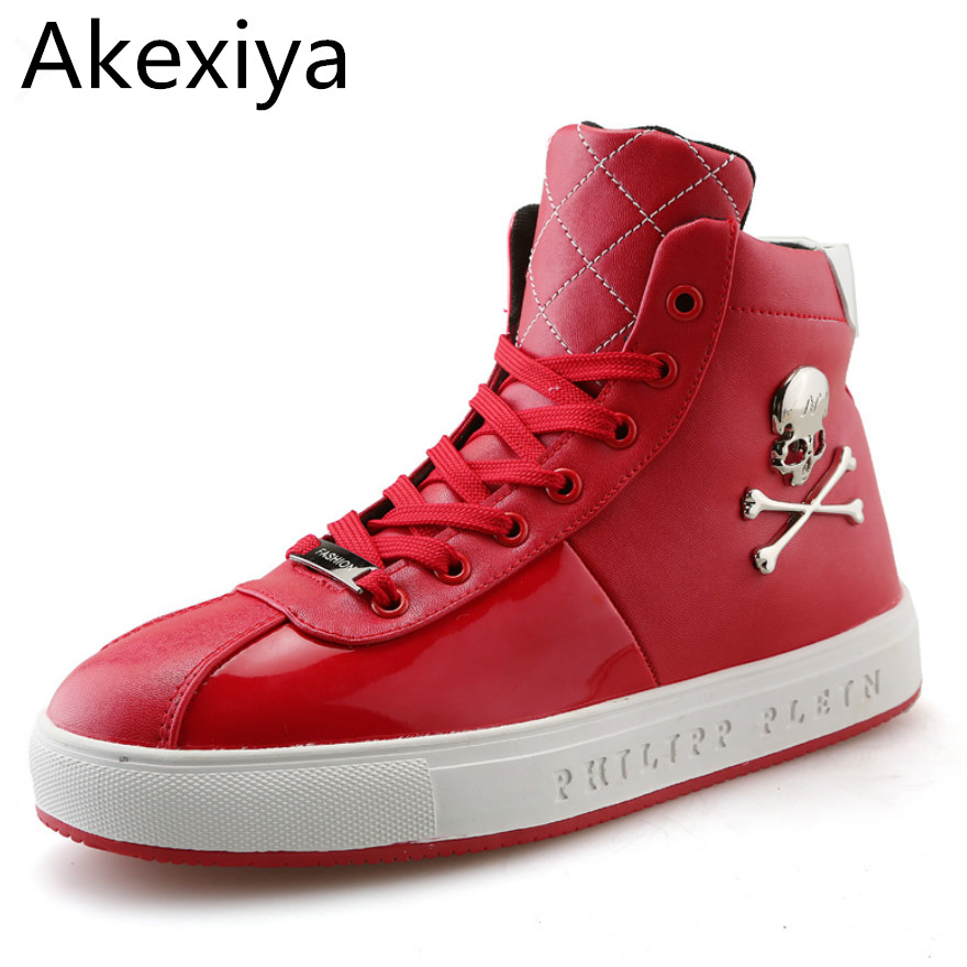 Akexiya New Men High Top Casual Shoes New Brand 2016 Skull Men Shoes Red Leather Breathable Autumn Men Boots Botas black White kelme 2016 new children sport running shoes football boots synthetic leather broken nail kids skid wearable shoes breathable 49