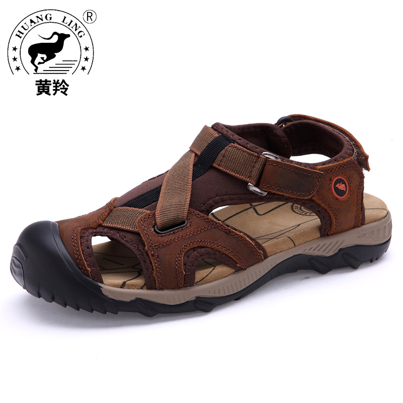 Size 38-44 HUANGLING Summer men sandals High Quality Genuine Leather Casual Men shoes HL2218