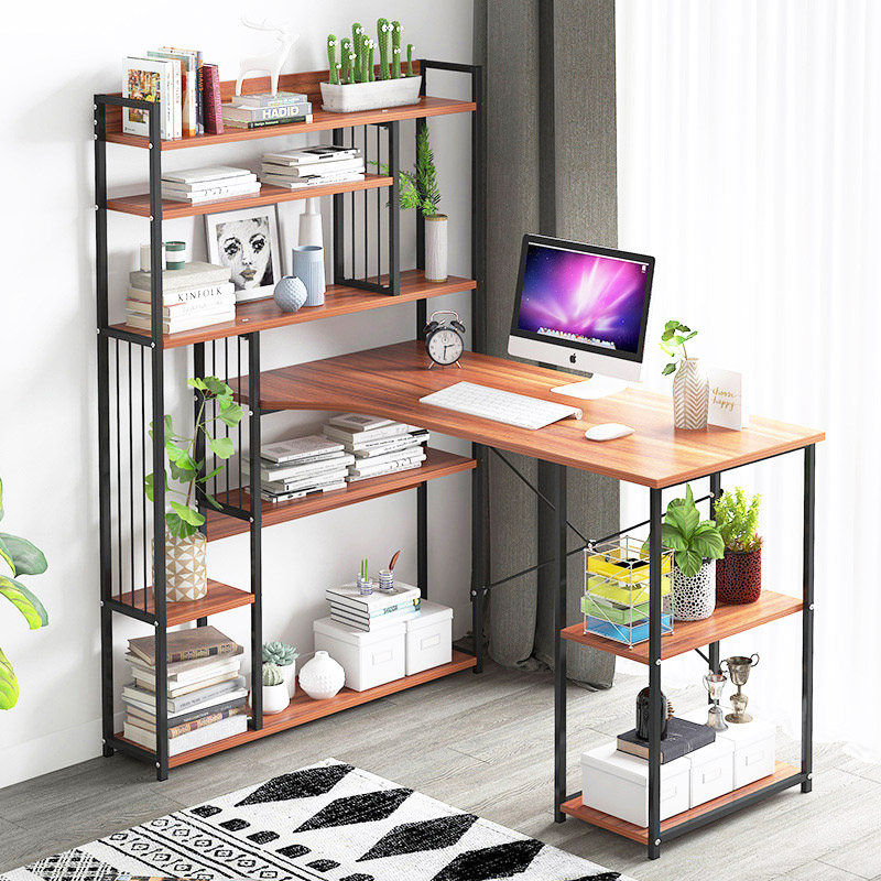 PC bureau ordinateur de bureau table de bureau avec bibliothèque multi-étagères multifonction ménage étude bureau mode table d'ordinateur portable meubles