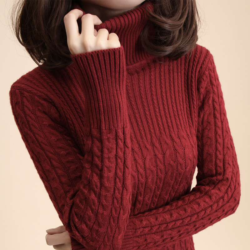 Free Shipping Women'S Vintage Slim Medium Long Turtleneck Twisted ...