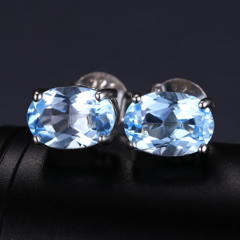 gold topaz cut blue white image gemstone emerald earrings stud jewellery