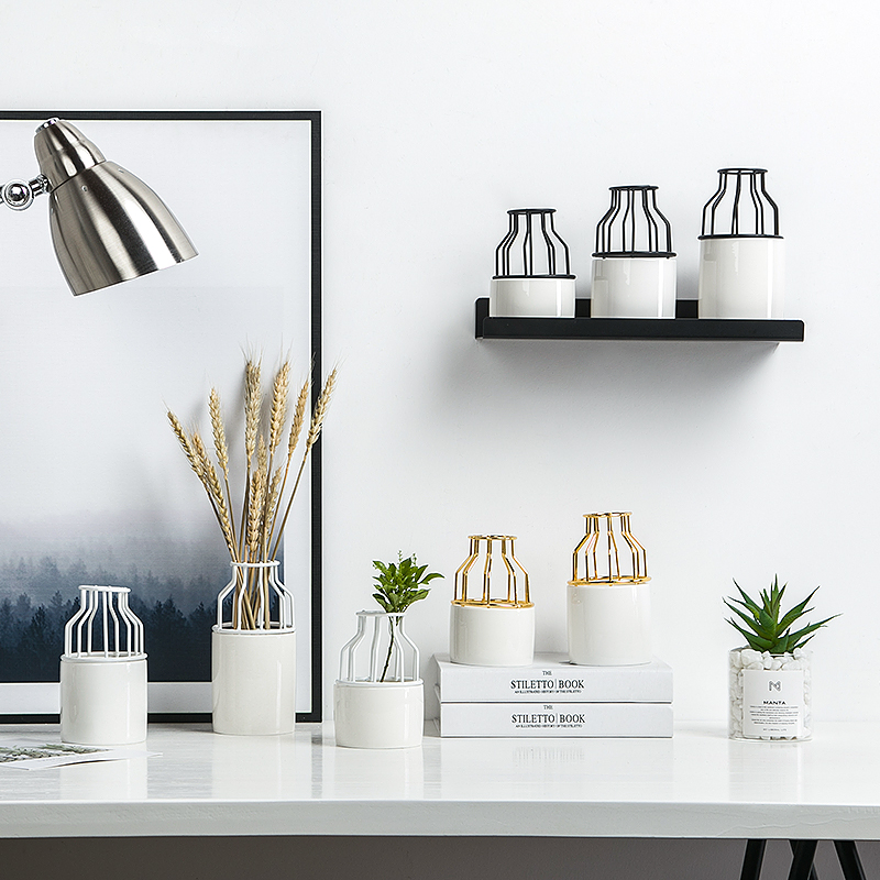 European Inspired Home Decor: European Style Wrought Iron Vase Living Room Home