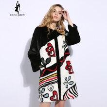 Playful pattern mink coat Round neck coats women real fur Imported velvet level