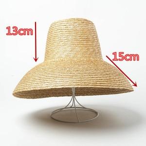 Image 3 - Новинка 2019, дизайнерская летняя соломенная шляпа ручной работы с высоким верхом 01812 hh7266, Женская Солнцезащитная шляпа для отдыха, пляжа