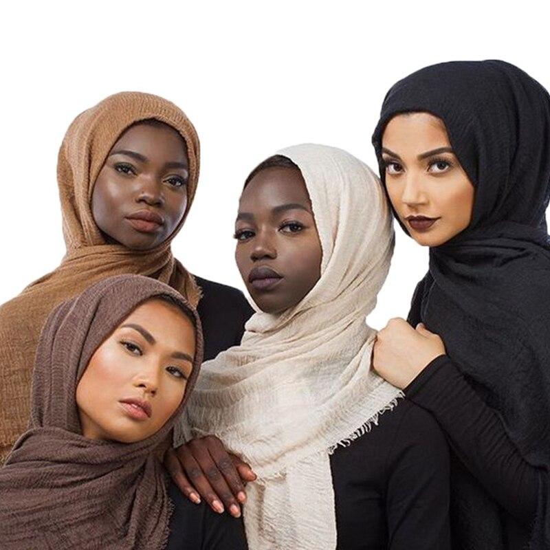 2020 women bubble cotton solid Islam muslim head scarf shawls and wraps pashmina female foulard viscose maxi crinkle cloud hijab(China)