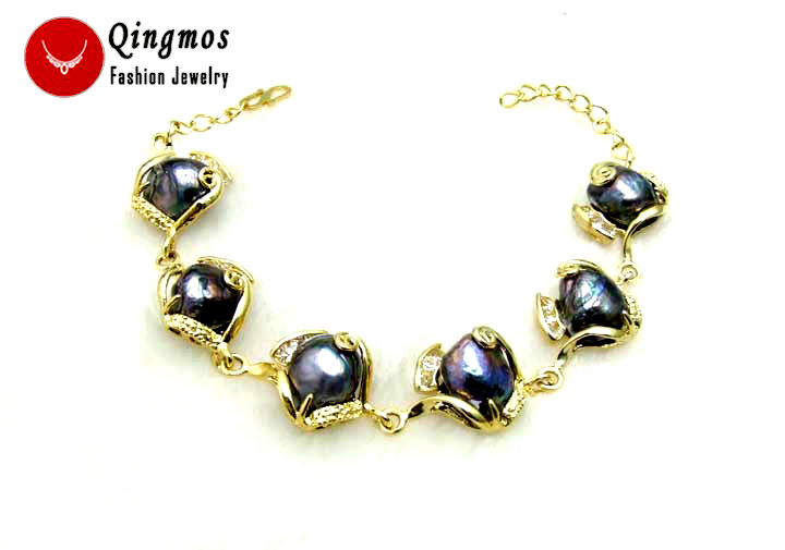 Qingmos Black Pearl Bracelet for Women with Natural Baroque 12mm Pearl Bracelets Gold-Color Chain Bracelet 7.5-8.5-bra184