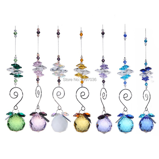 7pcs/lot 30mm Rainbow Window Suncather Chandelier Parts Lighting Ball  Crystal Prisms Crafts Hanging Pendant