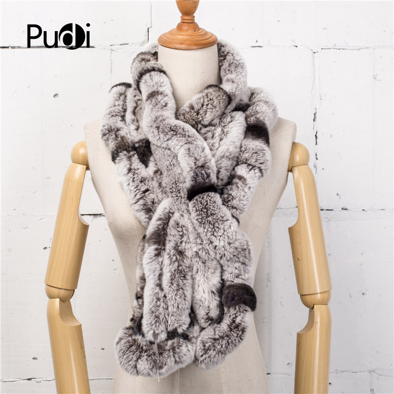 Pudi SF755 women's real rabbit fur <font><b>scarf</b></font> 2017 brand new winter girl natural rabbit fur scarves