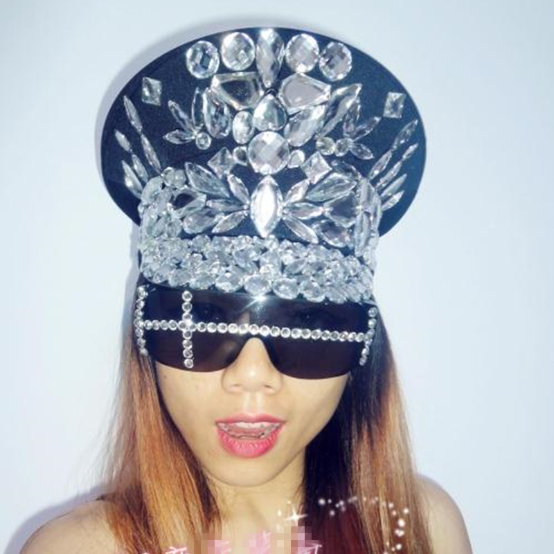 Ds costume bling baby hats sparkling diamond police cap rhinestone black  white military costumes diamond rhinestone black white -in Chinese Folk  Dance from ... fbdfc999b3f1