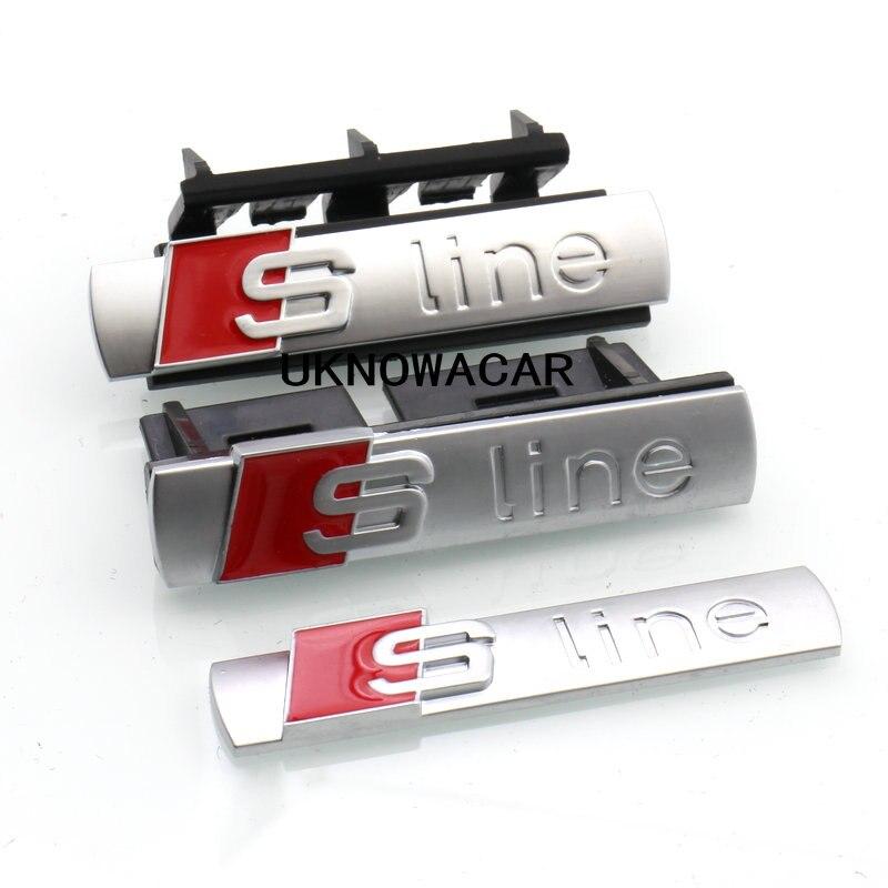 3D Metal S Line Sline Logo Car Front Grille Adhesive Emblem Badge Stikers Accessories For Audi A1 A3 A4 B6 B8 B5 B7 A5 A6 C5 s line sline front grille emblem badge chromed plastic abs front grille mount for audi a1 a3 a4 a4l a5 a6l s3 s6 q5 q7 label