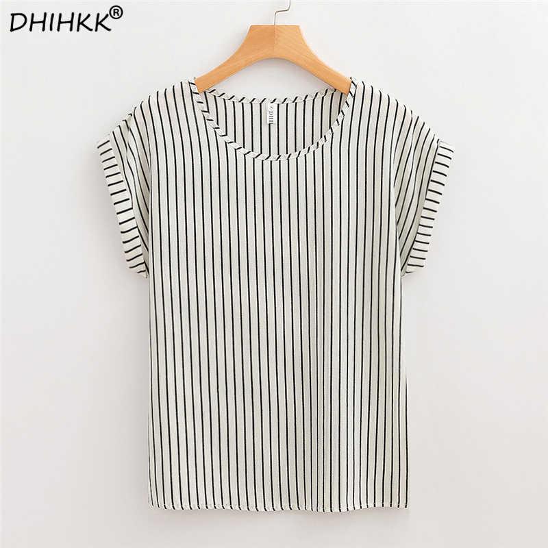 d979bf2c98b DHIHKK летние женские белые полосатые шифоновые блузки рубашки 2018 новые  модные с коротким рукавом с круглым