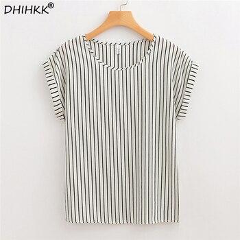 0819852076e DHIHKK летние женские белые полосатые шифоновые блузки рубашки 2018 Новая  мода короткий рукав o-образным