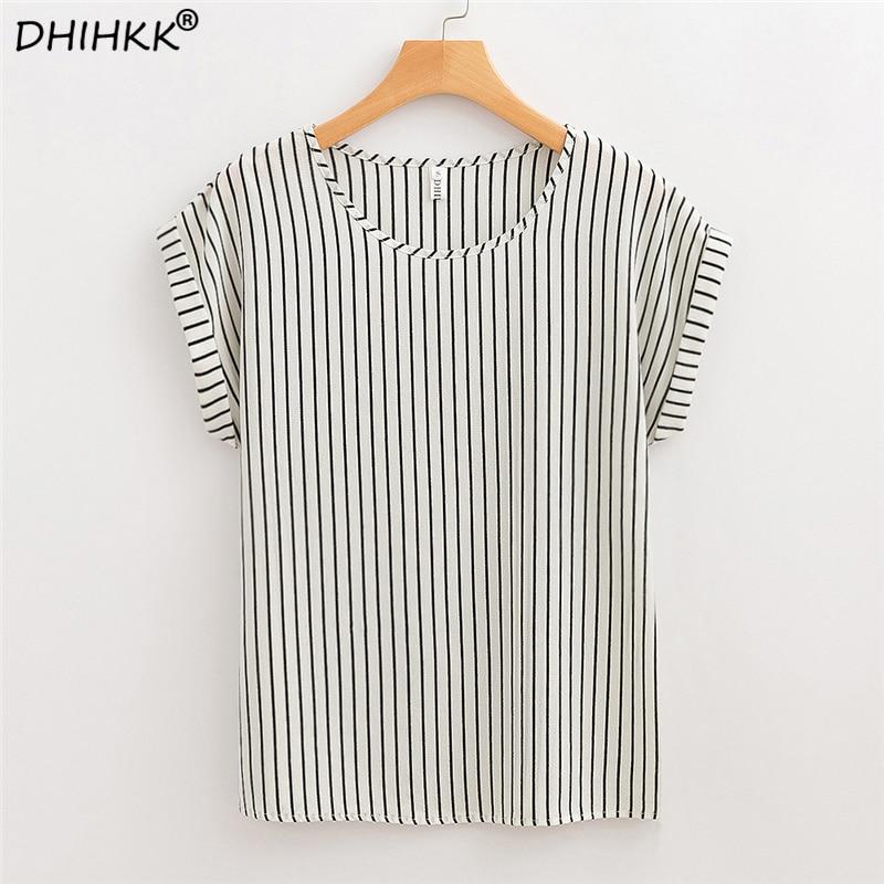 DHIHKK Summer Women White Striped Chiffon Blouses Shirts 2018 New Fashion Short Sleeve O-neck Blouse Women Tops Tee Blusas
