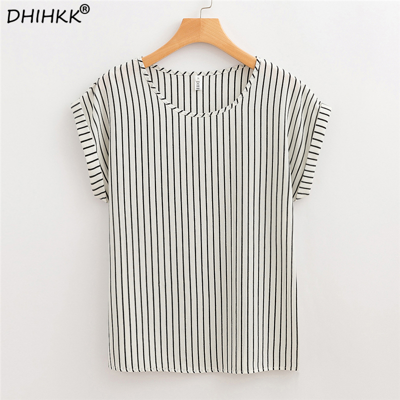DHIHKK Summer Women White Striped Chiffon   Blouses     Shirts   2018 New Fashion Short Sleeve O-neck   Blouse   Women Tops Tee Blusas