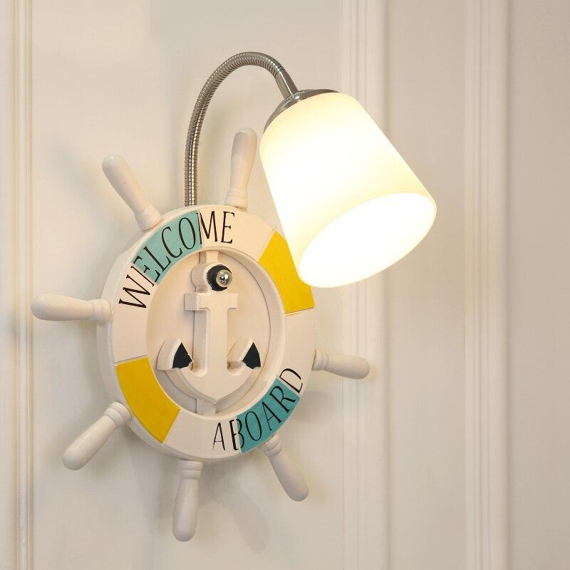 Современный мультфильм смолы корабль штурвала настенный светильник мальчик детская комната Творческий стекла огни девушка спальня ночники Арт Декор светодиодные лампы - 3