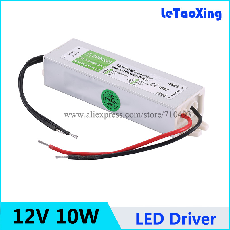12V 10W LED Driver Power Supply Waterproof Outdoor 12V Transformers Adapter For LED Strip light Lamp 100pcs Fedex Free shipping