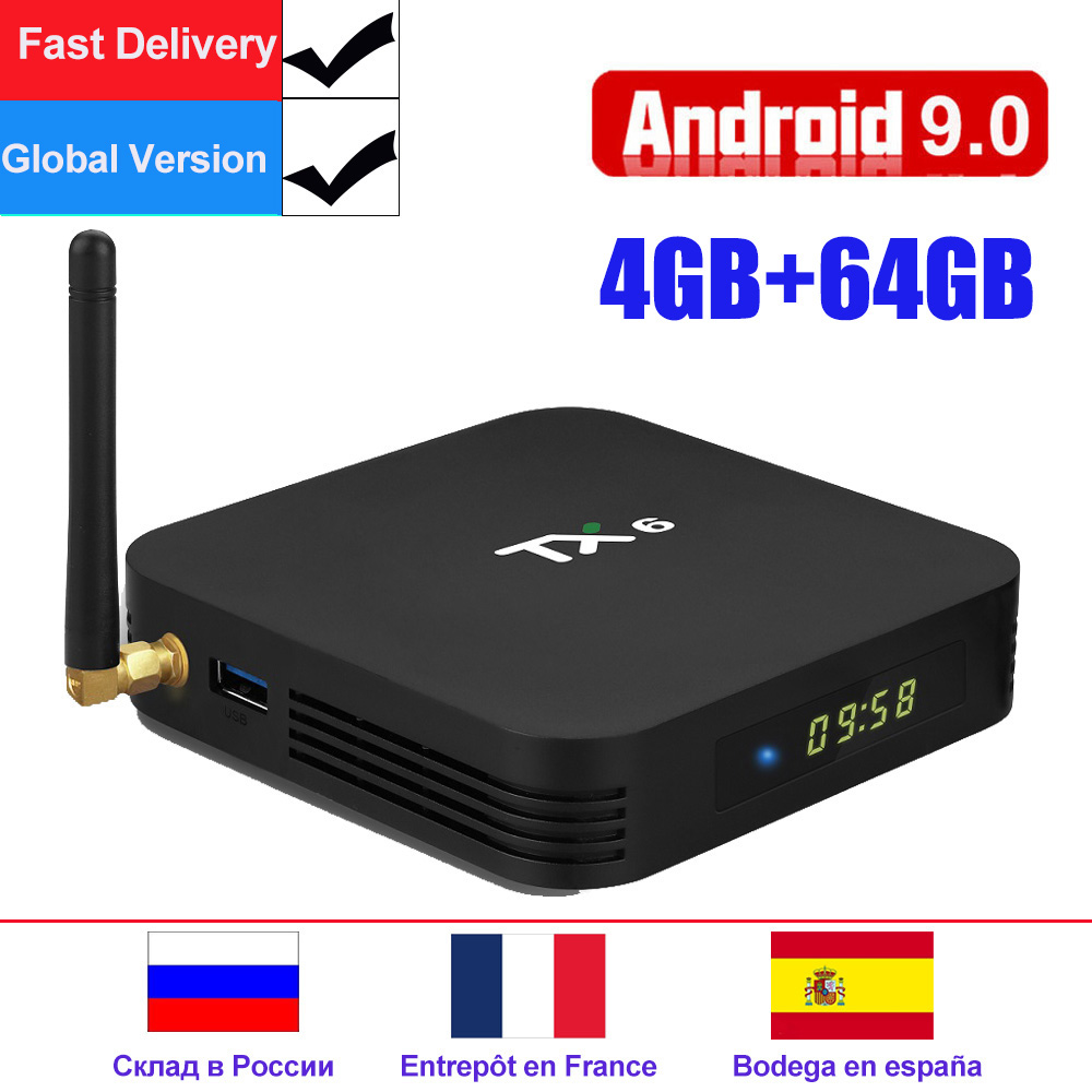Android 9,0 caja de TV TX6 caja de TV Android inteligente Allwinner H6 2 GB/4 GB DDR3 RAM 32GB /64GB 2,4G/5 GHz WiFi BT4.1 H.265 4K Media Player
