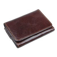 RFID Blocking Genuine Leather Short   Wallet   For Men Solid Hasp Design Card Holder Purse Trifold Men's   Wallet   Purses