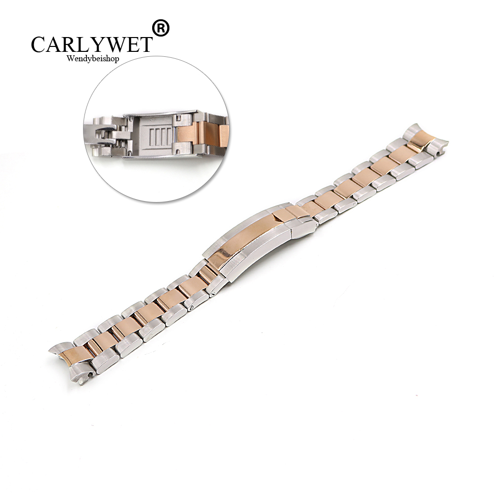 CARLYWET 20mm Middle Rose Gold Stainless Steel Solid Curved End Screw Links Glide Lock Clasp Watch Band Bracelet For GMT carlywet 13 17 19 20mm wholesale 316l stainless steel two tone rose gold silver watch band strap oyster bracelet for dayjust