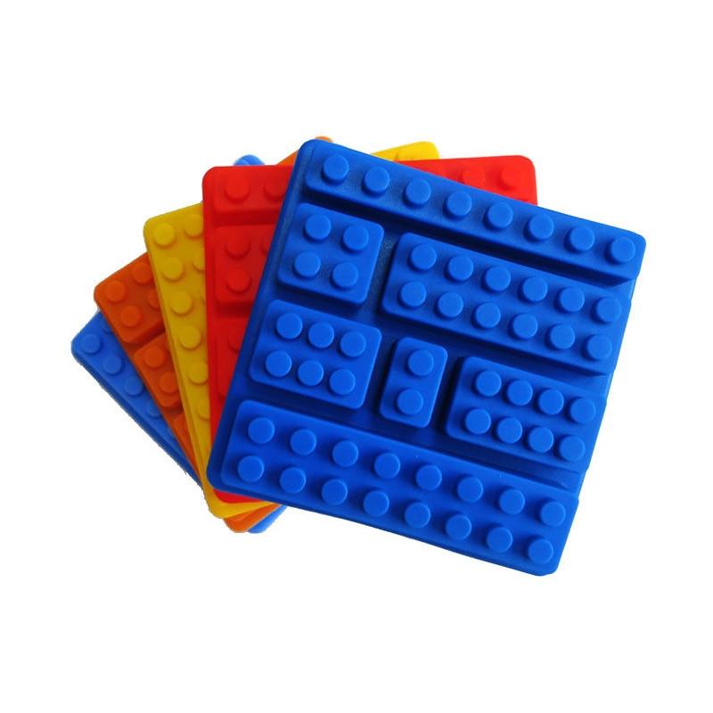 Silikona Lego ķieģeļu stila kvadrātveida ledus pelējuma šokolādes veidņu kūka Jello pelējuma celtniecības bloki ledus paplātes DIY bērni kūka veidne D0027-2